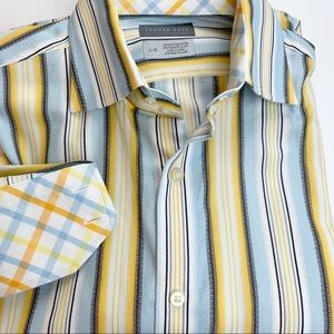 Thomas Dean TD striped flip cuff dress shirt
